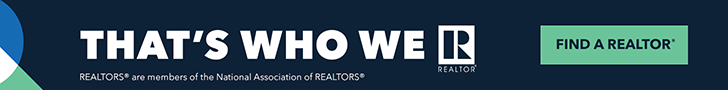Advertisement containing the text: That's Who We R. Find a REALTOR. REALTORS are members of the National Association of REALTORS.