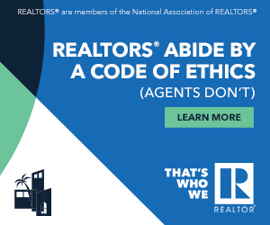 Advertisement containing the text: REALTORS are members of the National Association of REALTORS. REALTORS Abide By a Code of Ethics (Agents Don't). Learn more. That's Who We R logo.