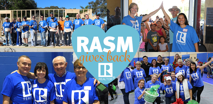 RASM Gives Back logo with photos of RASM members in the background. Photos depict members in Realtor shirts at community service events.